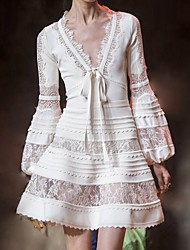 cheap -A-Line Cut Out Boho Party Wear Cocktail Party Dress V Neck Long Sleeve Short / Mini Cotton with Lace Insert 2020