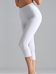 cheap -Women's High Waist Yoga Pants Cut Out Capri Leggings Butt Lift 4 Way Stretch Breathable White Black Green Nylon Non See-through Gym Workout Running Fitness Sports Activewear High Elasticity Skinny