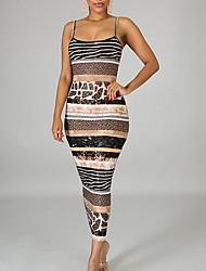 cheap -Women's Sheath Dress - Sleeveless Color Block Summer Elegant Slim 2020 Brown S M L