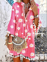 זול -בגדי ריקוד נשים שמלת שיפט שמלת מיני - שרוול 4\3 פרחוני קיץ יום יומי בוהו 2020 פוקסיה S M L XL XXL XXXL