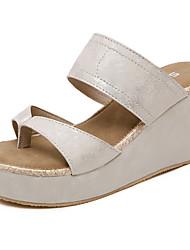 cheap -Women's Sandals Summer Wedge Heel Peep Toe Daily PU Black / Gold / Silver / Bunion Sandals