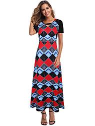 זול -בגדי ריקוד נשים שמלה בגזרה ישרה שמלת מקסי - שרוול קצר קולור בלוק קיץ סתיו בוהו 2020 קשת S M L XL XXL