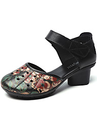 cheap -Women's Heels 2020 Spring / Fall Cuban Heel Round Toe Classic Vintage Party & Evening Outdoor Flower Leather / Nappa Leather Walking Shoes Dark Red / Black