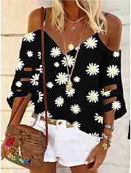 cheap -Women's Blouse Shirt Floral Flower Long Sleeve Strap Tops Basic Top Black Purple Khaki