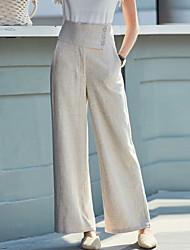 cheap -Women's Basic Wide Leg Pants - Solid Colored Black Beige S M L