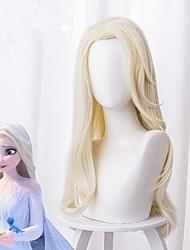 cheap -Cosplay Wig Elsa Frozen II Curly Asymmetrical Wig Very Long Light Blonde Synthetic Hair 26 inch Women's Anime Fashionable Design Cosplay Blonde