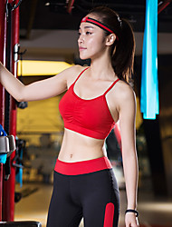 cheap -Women's Bra Top Light Support Cross Back Removable Pad Solid Color White Black Red Fruit Green Green Yoga Running Fitness Bra Top Sleeveless Sport Activewear Breathable High Impact Quick Dry Moisture