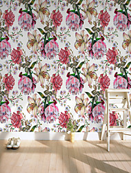 cheap -Custom Self-Adhesive Mural Wallpaper White Flowers Suitable For Bedroom Living Room Coffee Shop Restaurant Hotel Wall Decoration Art.  Wall Cloth Room Wallcovering