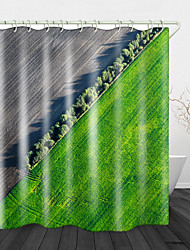 cheap -Farmland Aerial Photography Bathroom Shower Curtains & Hooks Rainbow Neoclassical Polyester Waterproof