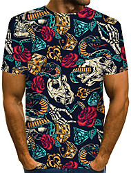 cheap -Men's Floral Graphic Blue Print T-shirt Basic Exaggerated Daily Blue / Purple / Red / Yellow / Green