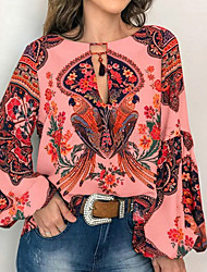 cheap -Women's Blouse Shirt Floral Flower Long Sleeve Lace up Print Round Neck Tops Basic Basic Top White Yellow Orange