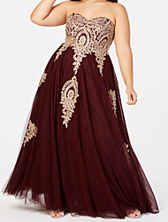 cheap -A-Line Plus Size Elegant Wedding Guest Formal Evening Dress Sweetheart Neckline Sleeveless Floor Length Tulle with Pleats Beading 2021