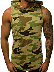cheap -Men's Camo / Camouflage Letter Print Tank Top Basic Military Sports Gym Hooded Army Green / Gray / Sleeveless
