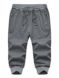 cheap -Men's Sporty Basic Daily Slim Cotton Sweatpants Shorts Pants - Print Solid Colored Sporty Breathable Spring Fall Black Light gray Dark Gray US32 / UK32 / EU40 / US34 / UK34 / EU42 / US36 / UK36 / EU44