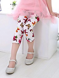 Недорогие -Дети Дети (1-4 лет) Девочки Богемный Бабочка Цветочный принт Леггинсы Белый