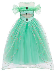 cheap -Princess Flapper Dress Dress Party Costume Girls' Movie Cosplay Turquoise Dress Christmas Children's Day New Year Polyester Organza