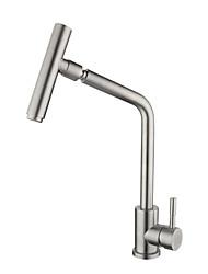 Недорогие -кухонный смеситель - Одной ручкой одно отверстие Нержавеющая сталь Стандартный Носик По центру Современный Kitchen Taps