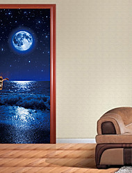 cheap -3D Door Sticker Wood Adhesive Waterproof Wallpaper for Doors Living Room Bedroom Poster DIY Mural Decals Home Decor deursticker