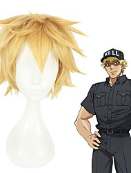 cheap -Cells at Work Cosplay Cosplay Wigs Men's Layered Haircut 8 inch Heat Resistant Fiber Curly Blonde Teen Adults' Anime Wig