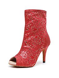 cheap -Women's Dance Boots Heel Ruffle Slim High Heel Dark Red Zipper