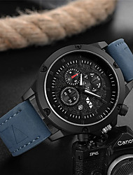 cheap -Men's Dress Watch Quartz Genuine Leather 30 m Water Resistant / Waterproof Calendar / date / day Day Date Analog Fashion Cool - Black Blue Brown One Year Battery Life