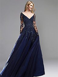 cheap -A-Line Open Back Formal Evening Dress Plunging Neck Long Sleeve Sweep / Brush Train Chiffon Lace with Appliques 2021