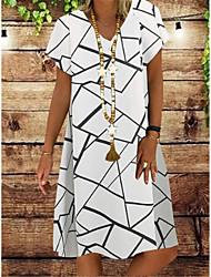 cheap -Women's A-Line Dress Knee Length Dress - Short Sleeve Print Patchwork Summer V Neck Casual Vintage Daily Belt Not Included Oversized 2020 White Black Navy Blue S M L XL XXL XXXL XXXXL XXXXXL