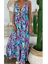 זול -בגדי ריקוד נשים שמלת שיפט שמלת מקסי - ללא שרוולים פרחוני קיץ יום יומי 2020 אודם כחול נייבי כחול בהיר S M L XL XXL XXXL XXXXL XXXXXL