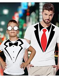 ieftine -Tati si cu mine Activ De Bază Grafic Manșon scurt Regular Tricou Alb