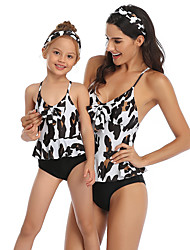 cheap -Mommy and Me Active Sweet Black & White Geometric Leopard Color Block Backless Bow Criss Cross Sleeveless Short Above Knee Swimwear Black