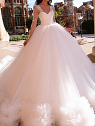cheap -Ball Gown Wedding Dresses V Neck Court Train Lace Tulle Long Sleeve Formal Illusion Sleeve with Ruffles 2021