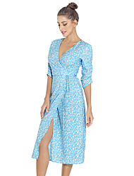 cheap -Women's Sundress Midi Dress - 3/4 Length Sleeve Floral Ruched Split Print Summer Sexy Mumu Holiday Beach Capped 2020 Red Army Green Green Light Blue S M L XL XXL