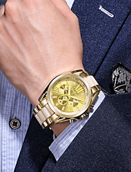 cheap -Men's Dress Watch Quartz Modern Style Stylish Titanium Alloy Gold Casual Watch Analog Casual Fashion - White Black Blue One Year Battery Life