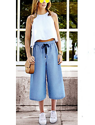 cheap -Women's Basic Plus Size Loose Cotton Chinos Pants - Solid Colored Blue Light Blue S / M / L