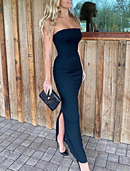 cheap -Sheath / Column Elegant Black Party Wear Formal Evening Dress Strapless Sleeveless Floor Length Satin with Split 2020