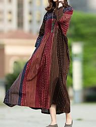 cheap -Women's Maxi Plus Size Brown Gray Dress Basic Boho Spring & Summer Daily Loose Leopard Animal Print S M Loose