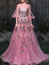 cheap -A-Line Luxurious Pink Engagement Formal Evening Dress Illusion Neck 3/4 Length Sleeve Chapel Train Tulle with Appliques 2020