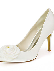 cheap -Women's Wedding Shoes Spring / Summer Stiletto Heel Pointed Toe Sweet Wedding Party & Evening Satin Flower Solid Colored Satin White / Dark Purple / Champagne