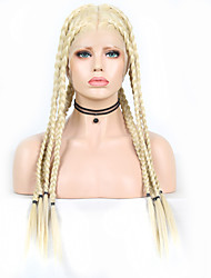 cheap -Synthetic Lace Front Wig Box Braids Plaited Middle Part Braid with Baby Hair Full Lace Wig Blonde Long Light Blonde Synthetic Hair 18-26 inch Women's Soft Party Women Blonde