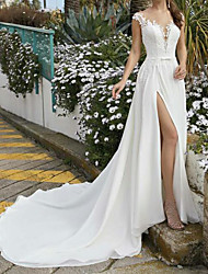 cheap -A-Line Wedding Dresses V Neck Sweep / Brush Train Chiffon Lace Sleeveless Beach Sexy with Sashes / Ribbons Split Front 2021