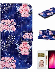 cheap -Case For Xiaomi Xiaomi Redmi Note 8 / Xiaomi Redmi Note 8 Pro / Redmi Note 7 Pro Wallet / Card Holder / with Stand Full Body Cases Pink Flower PU Leather / TPU for Redmi Note 7