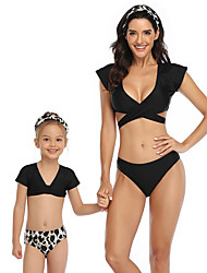 cheap -2 Piece Mommy and Me Active Sweet Tropical Leaf Geometric Leopard Color Block Cut Out Print Sleeveless Short Above Knee Swimwear Black