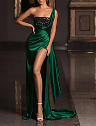 cheap -Sheath / Column Elegant Sparkle Prom Formal Evening Dress One Shoulder Sleeveless Court Train Satin Sequined with Ruched 2020