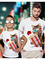 ieftine -Tati si cu mine Activ De Bază Grafic Animal Manșon scurt Regular Tricou Alb
