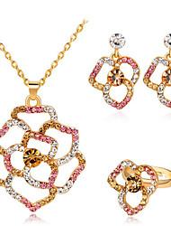cheap -Women's Cubic Zirconia Jewelry Set Classic Flower Stylish Imitation Diamond Earrings Jewelry Gold For Party Evening Festival 1 set