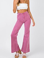 cheap -Women's Basic Loose Chinos Pants - Solid Colored Blushing Pink Khaki Light Blue S / M / L