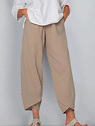 cheap -Women's Basic Plus Size Cotton Loose Chinos Pants Solid Colored Black Khaki Dusty Blue