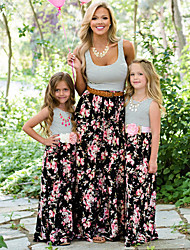cheap -Mommy and Me Boho Sweet Black & White Striped Floral Print Sleeveless Maxi Dress Black