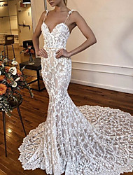 cheap -Mermaid / Trumpet Wedding Dresses V Neck Spaghetti Strap Court Train Lace Sleeveless Sexy See-Through with Lace Embroidery 2020