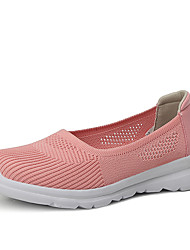cheap -Women's Loafers & Slip-Ons Spring & Summer Flat Heel Round Toe Sporty Sweet Daily Knit / Elastic Fabric Running Shoes / Walking Shoes Black / Pink / Dark Blue